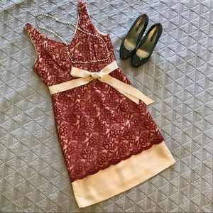 The Limited Red and Gold Lace Dress